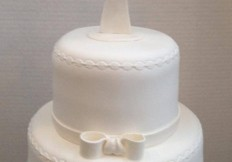 2 tiered white christening cake