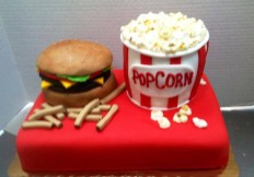 burgers and popcorn
