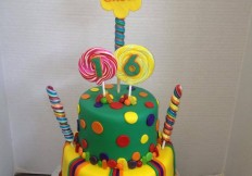 candy and lolipop 2 tier cake