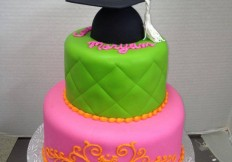 green and pink grad 2 tier cake